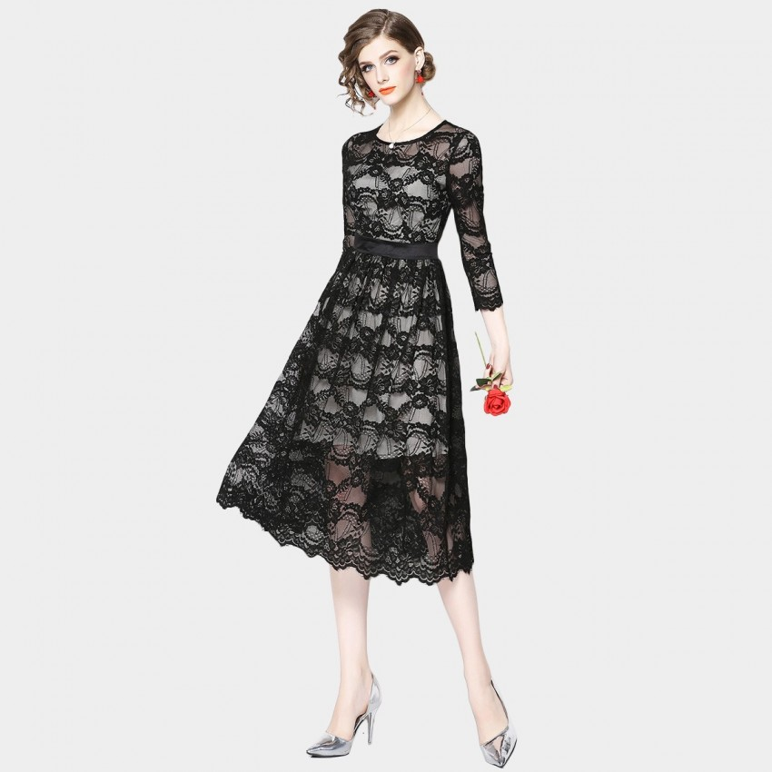 Buy OFYA Contrast Semi-Sheer Floral Black Dress online, shop OFYA with free shipping