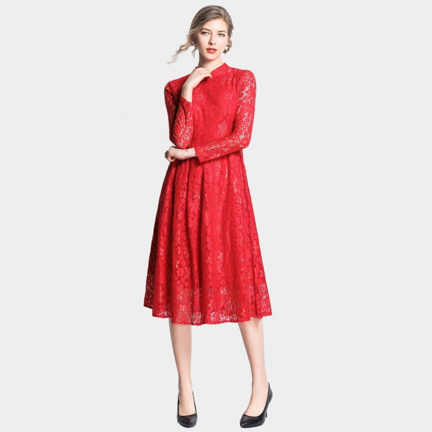 Buy OFYA High-Neck Midi Floral Red Dress online, shop OFYA with free shipping