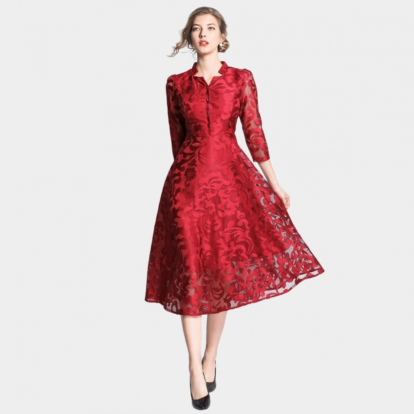 Buy OFYA Cloud Print Star Neckline Red Dress online, shop OFYA with free shipping