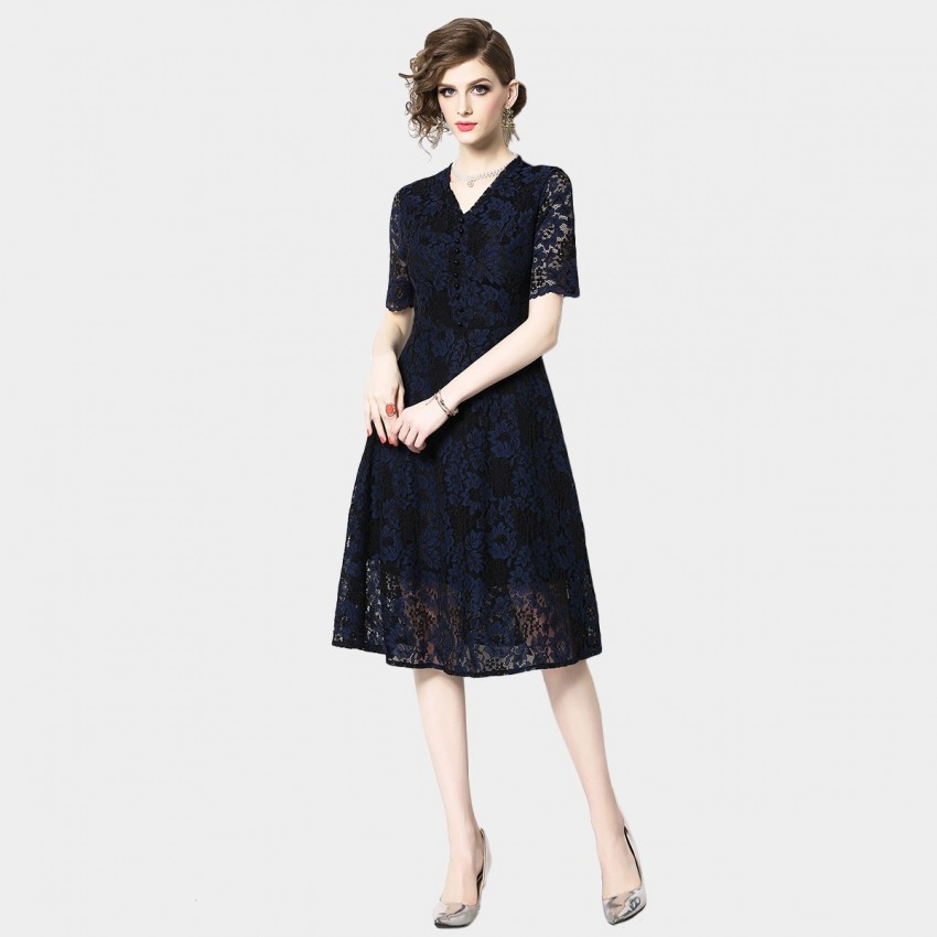 Buy OFYA V-Neck Floral Navy Dress online, shop OFYA with free shipping