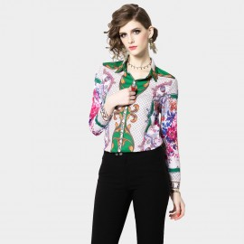 OFYA Vibrant Floral Green Shirt (6650)