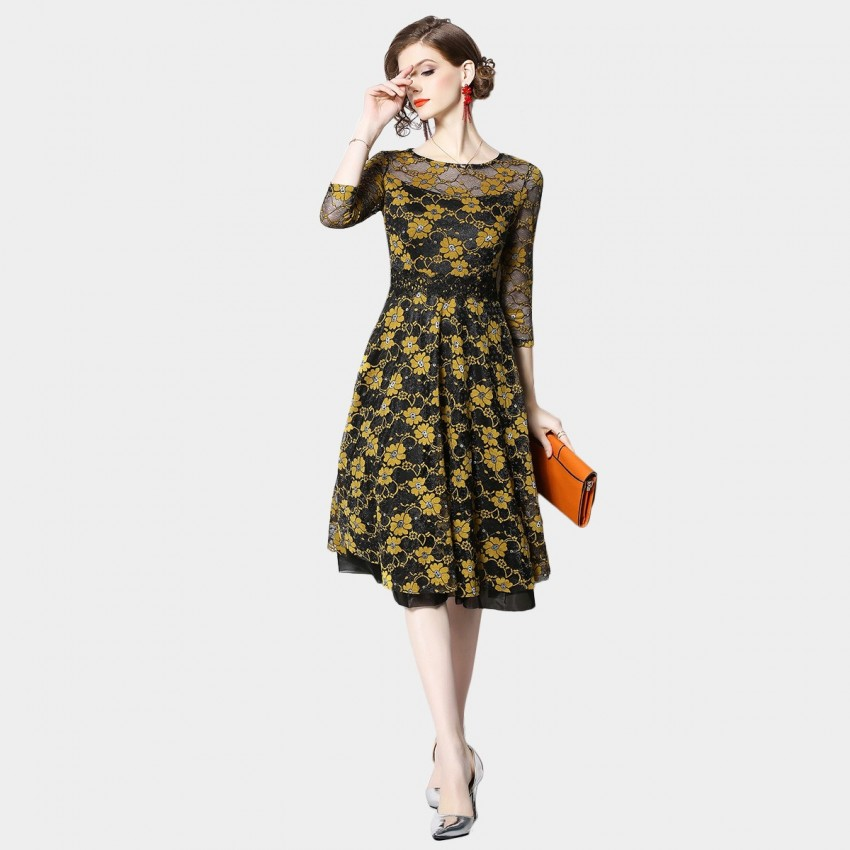 Buy OFYA Contrast Floral Yellow Dress online, shop OFYA with free shipping
