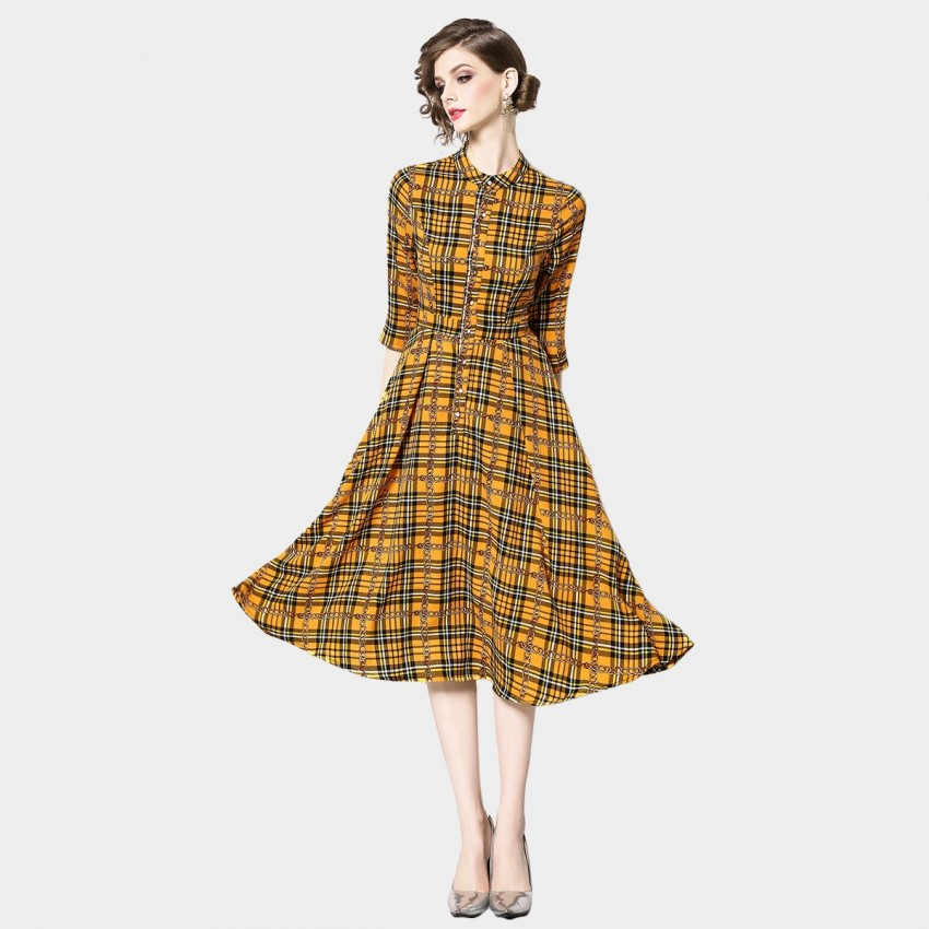 OFYA Checkered Midi Yellow Dress (6235)