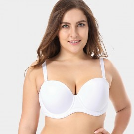 Delimira Detachable Straps Backless White Bra (W593)