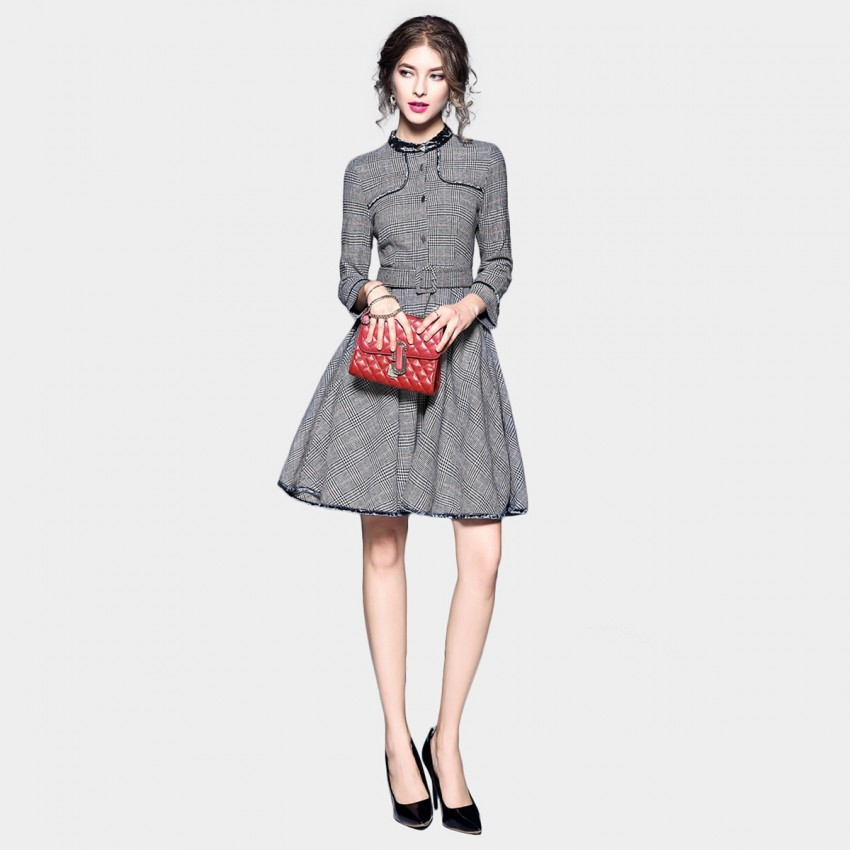 Buy Tina Classic Check Grey Dress online, shop Tina with free shipping