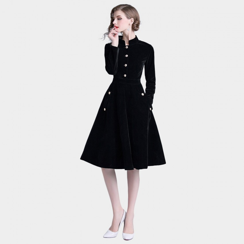 Buy Tina Meticulous Velvet Black Dress online, shop Tina with free shipping