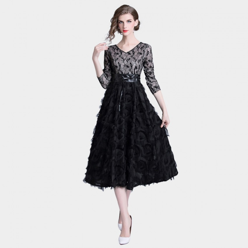 Buy Tina Lace And Ruffles Black Dress online, shop Tina with free shipping