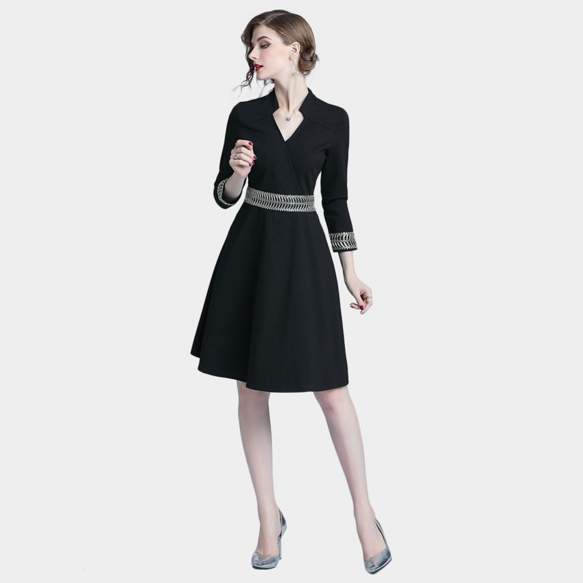 Buy Tina Classic High Waisted Black Dress online, shop Tina with free shipping