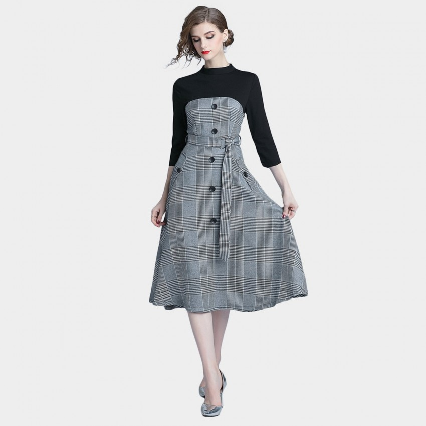 Buy Tina Two-Layered Check Black Dress online, shop Tina with free shipping