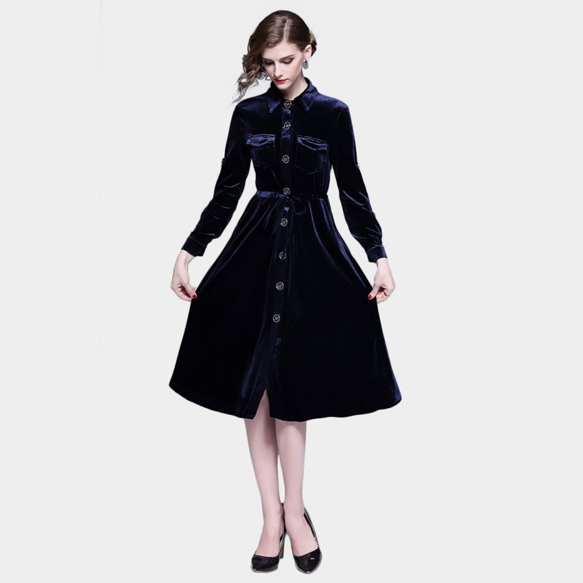 Buy Tina Single-Breasted Velvet Navy Dress online, shop Tina with free shipping