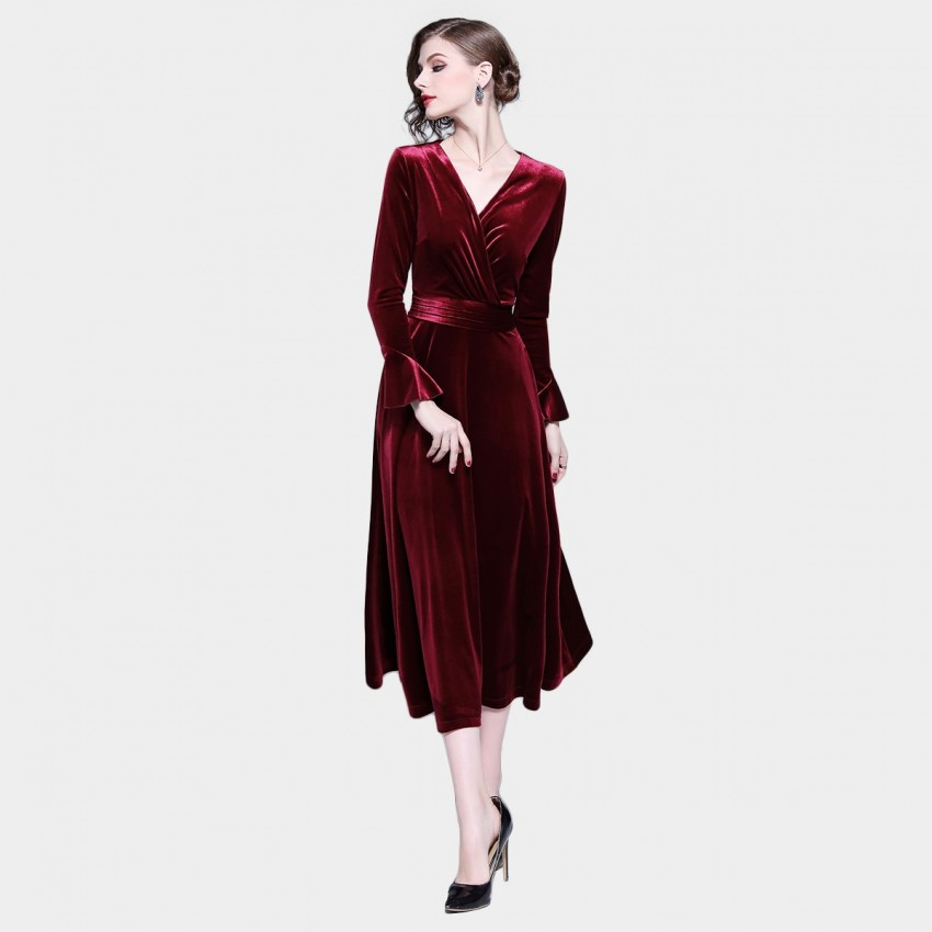 Tina Goddess Velvet Wrap Wine Dress (327)