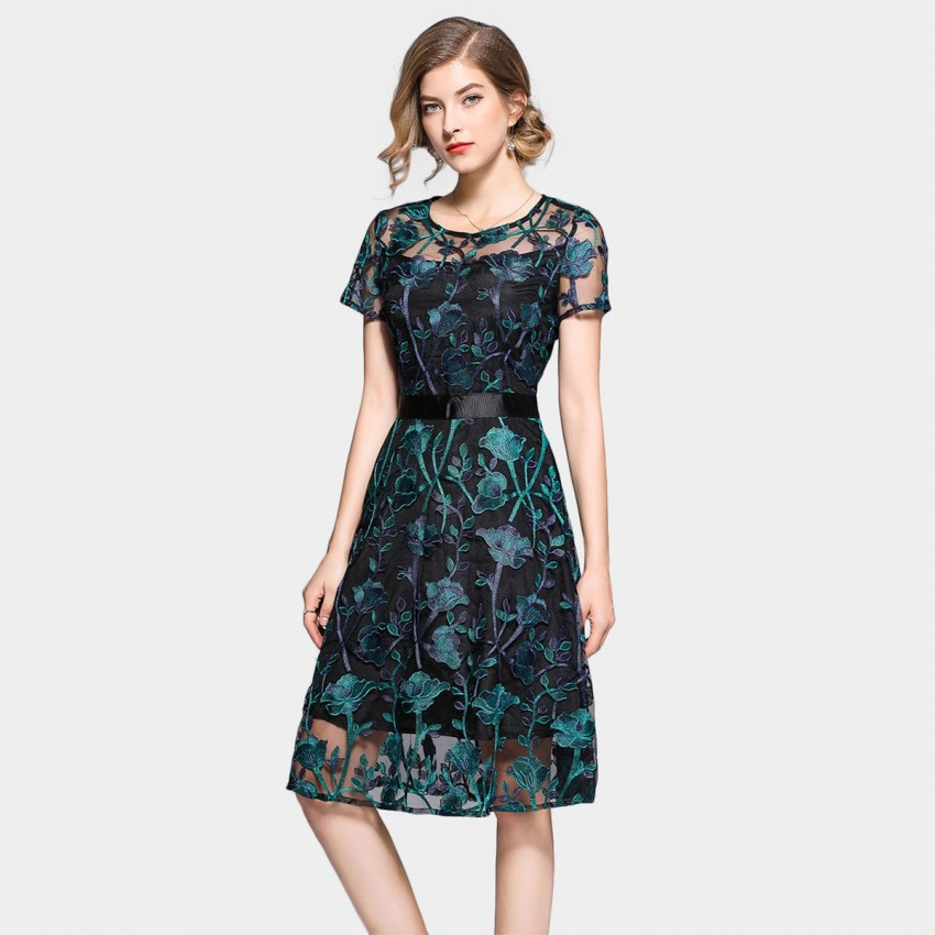Buy Tina Embroidered Green Dress online, shop Tina with free shipping