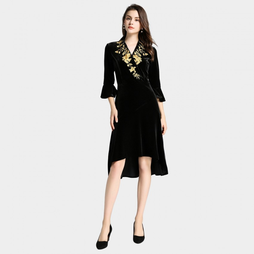 Buy Tina Golden Flower Velvet Black Dress online, shop Tina with free shipping
