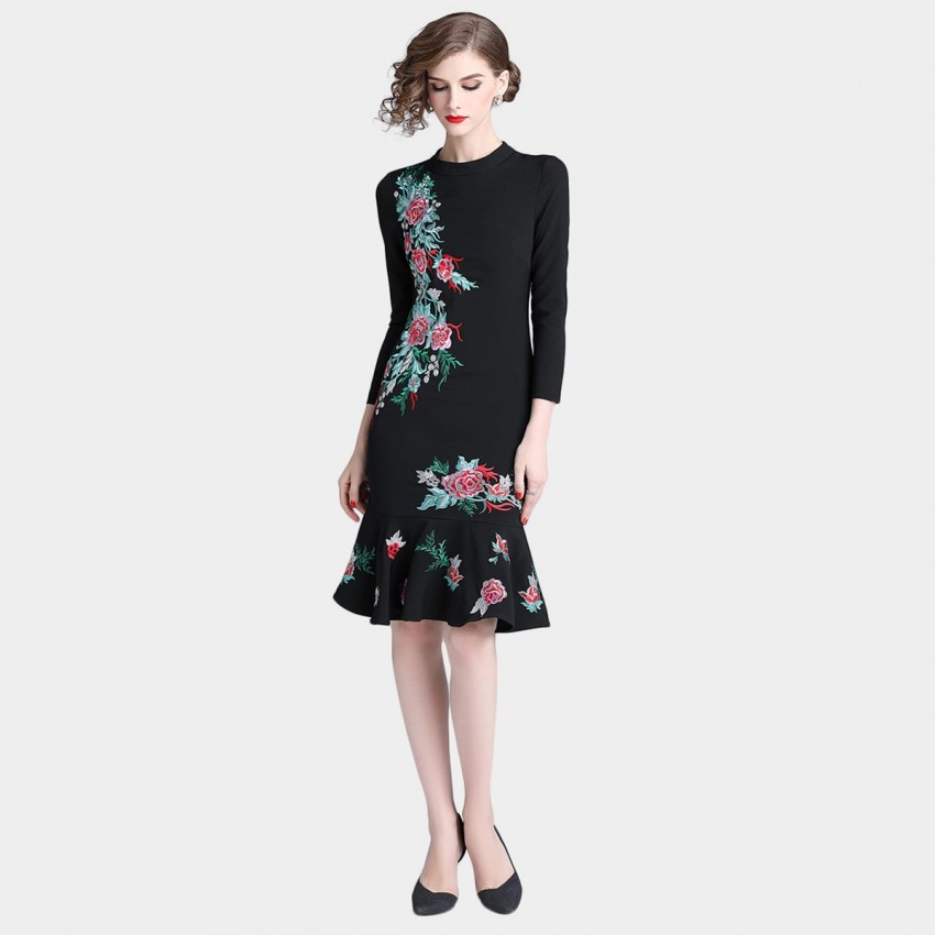 Buy Tina Chinese Embroidery Black Dress online, shop Tina with free shipping
