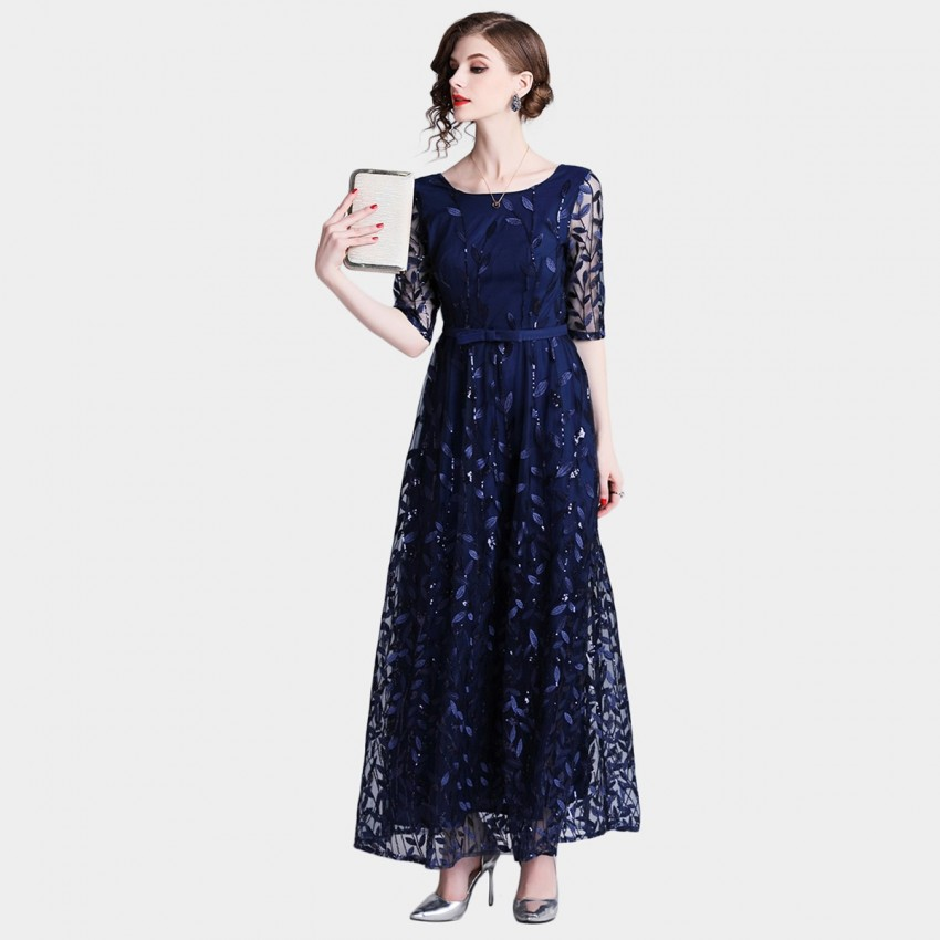 Tina Endless Leaves Navy Dress (6349)