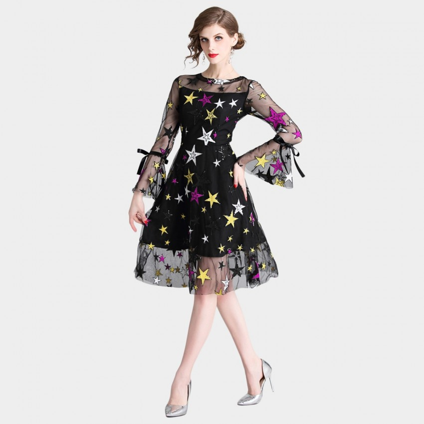 Buy D & R Embroidered Navy Dress online, shop Tina with free shipping