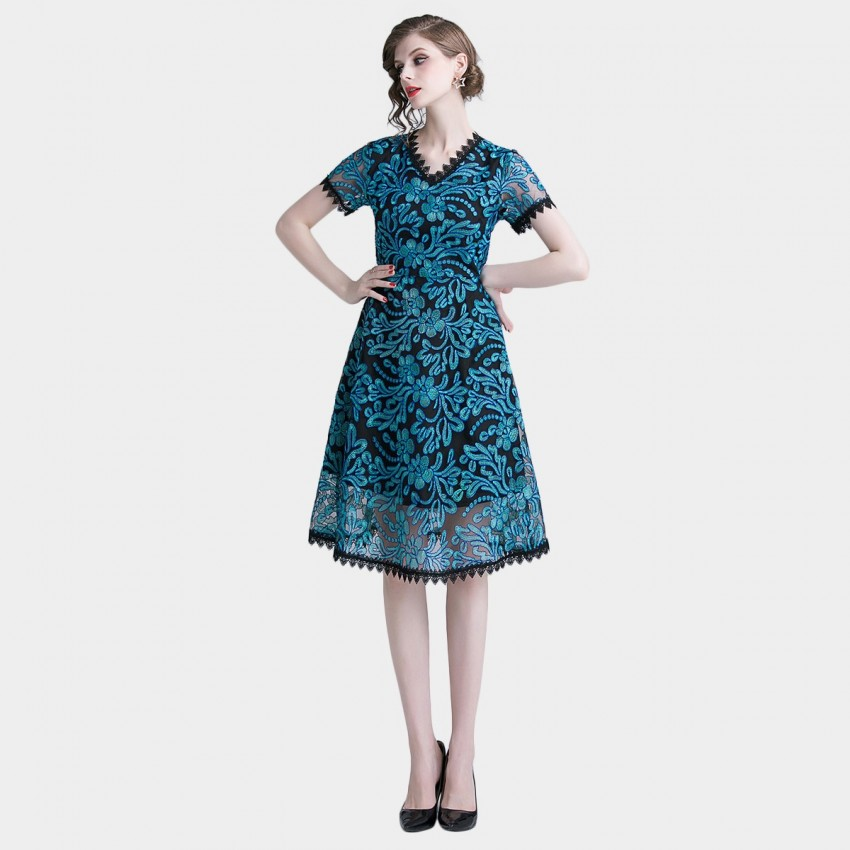 Buy Tina Exotic Summer Blue Dress online, shop Tina with free shipping