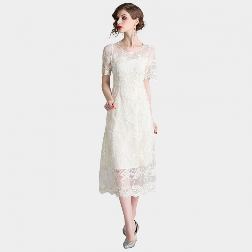Buy D & R White Midi Dress online, shop Tina with free shipping