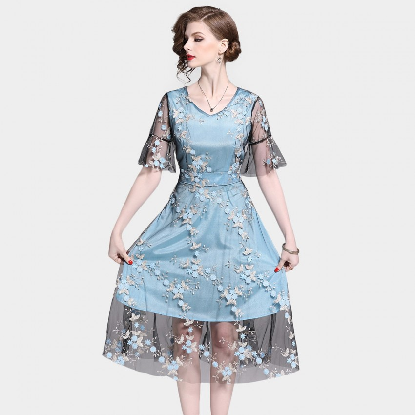 Buy Tina River Flowers Blue Dress online, shop Tina with free shipping