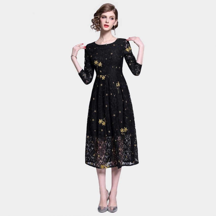 Buy Tina Falling Flowers Black Dress online, shop Tina with free shipping