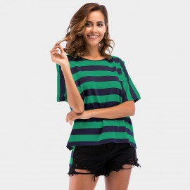 YYFS Loose Stripe Green Tee (5702)