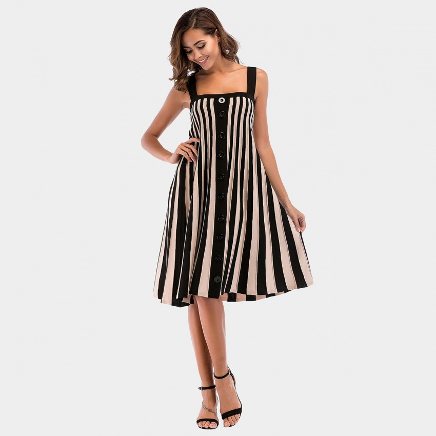 Buy YYFS Stripped Strap Black Dress online, shop YYFS with free shipping
