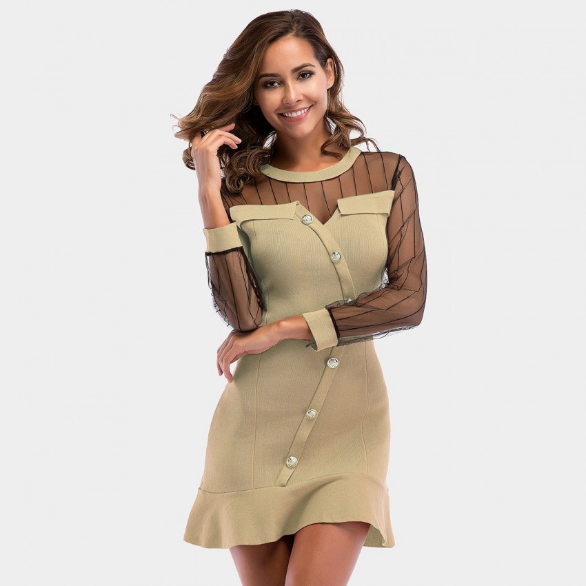 Buy YYFS Splice See-Through Apricot Dress online, shop YYFS with free shipping