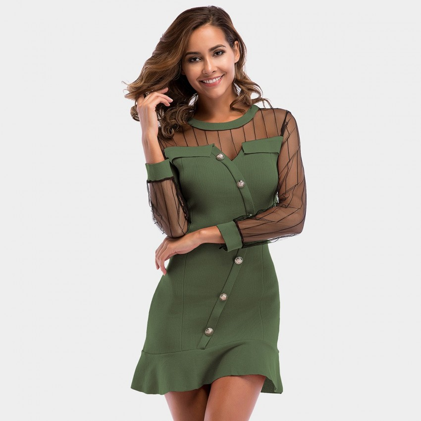 Buy YYFS Splice See-Through Green Dress online, shop YYFS with free shipping