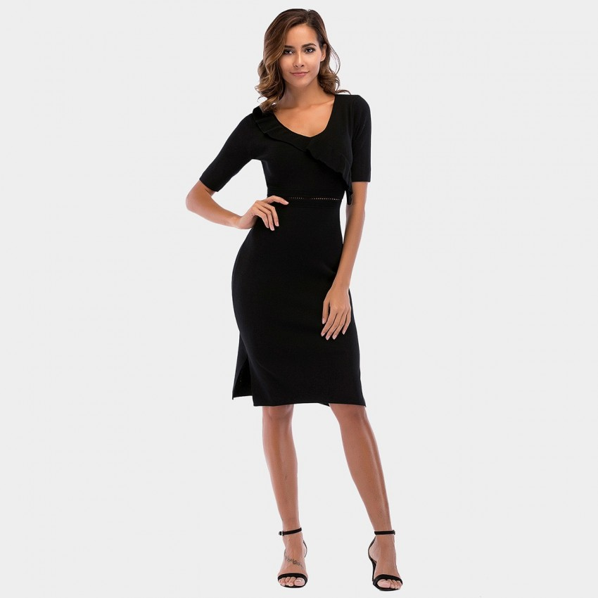 Buy YYFS Ruffle High-Waist Black Dress online, shop YYFS with free shipping