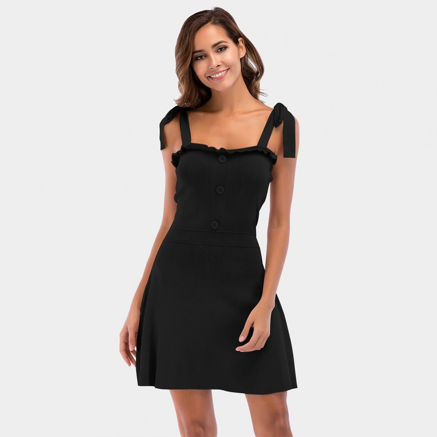Buy YYFS Knotted Strap Black Dress online, shop YYFS with free shipping