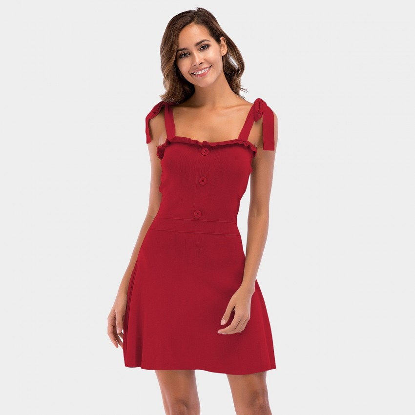 Buy YYFS Knotted Strap Red Dress online, shop YYFS with free shipping