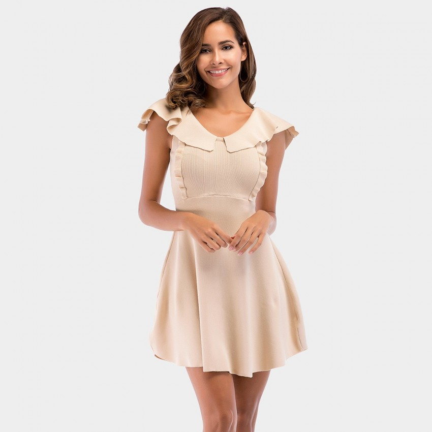 Buy YYFS Ruffle Collar Apricot Dress online, shop YYFS with free shipping