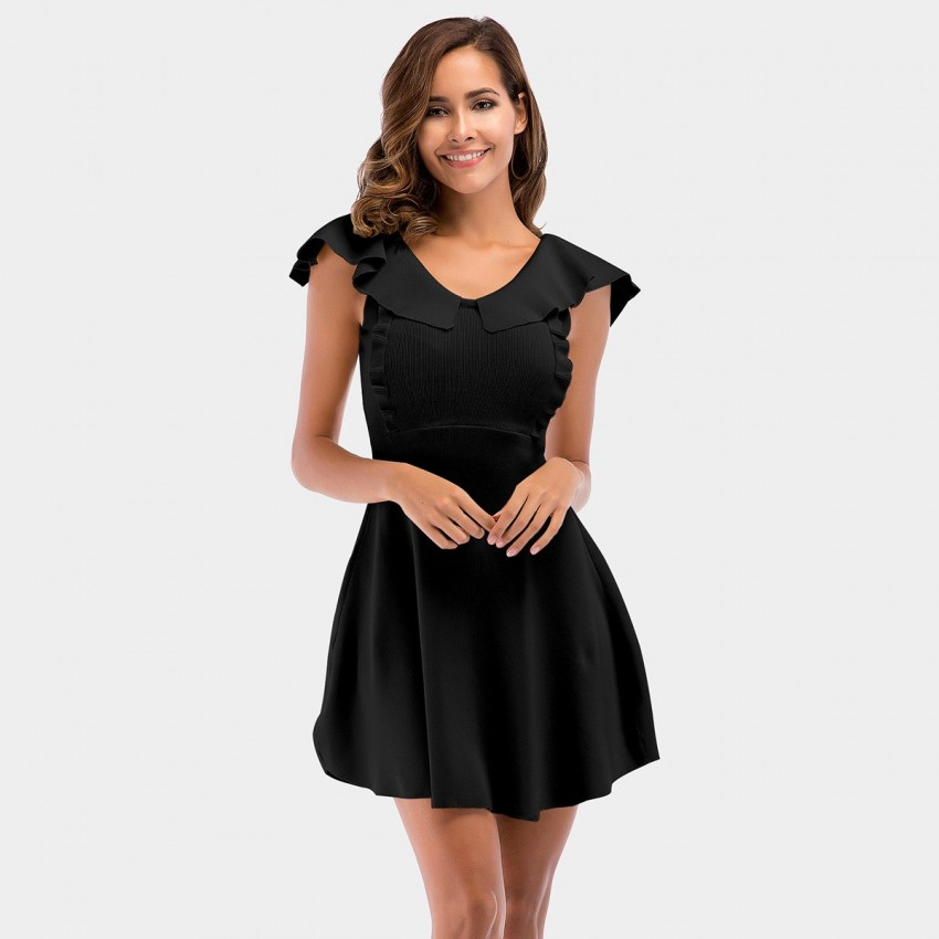 Buy YYFS Ruffle Collar Black Dress online, shop YYFS with free shipping