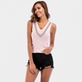 YYFS V-Neck Cross Knot Pink Top (5709)