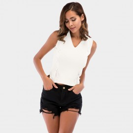 YYFS Tight Cross White Top (5710)