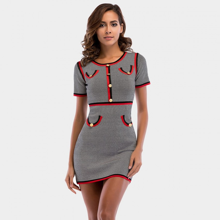 Buy YYFS Red-Black Lined Office Grey Dress online, shop YYFS with free shipping