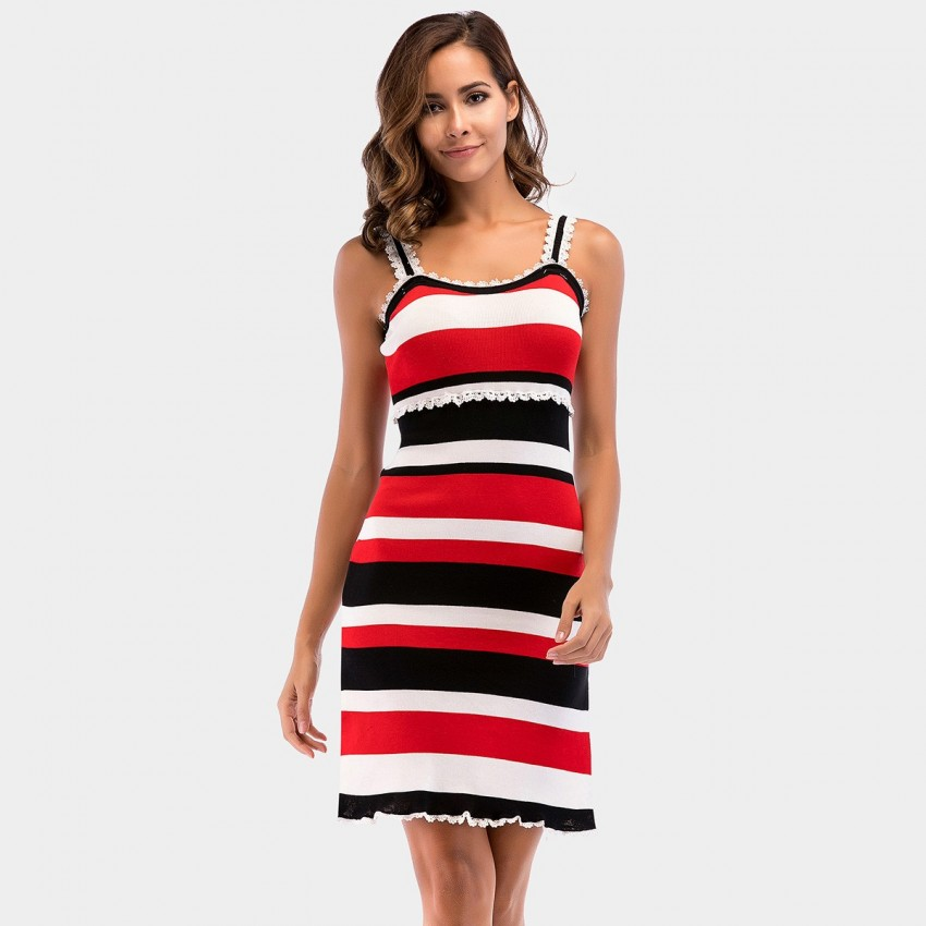Buy YYFS Strap Lace Stripe Dress online, shop YYFS with free shipping