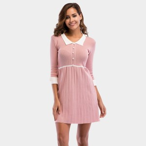 YYFS Polo Collar Lady Pink Dress (5715)