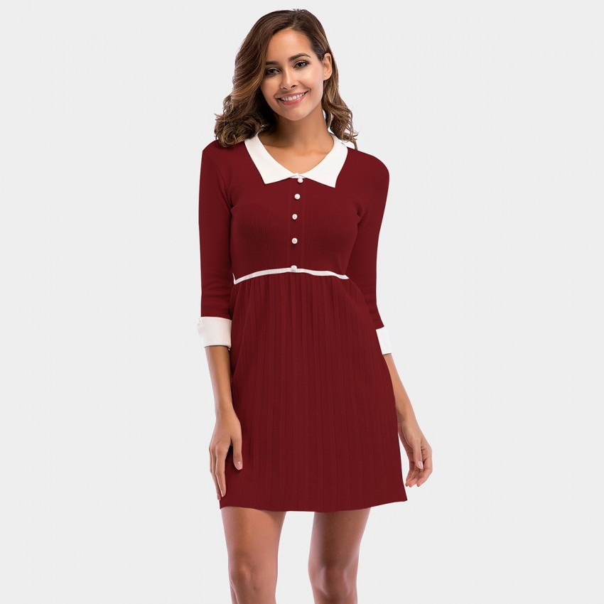 Buy YYFS Polo Collar Lady Wine Dress online, shop YYFS with free shipping