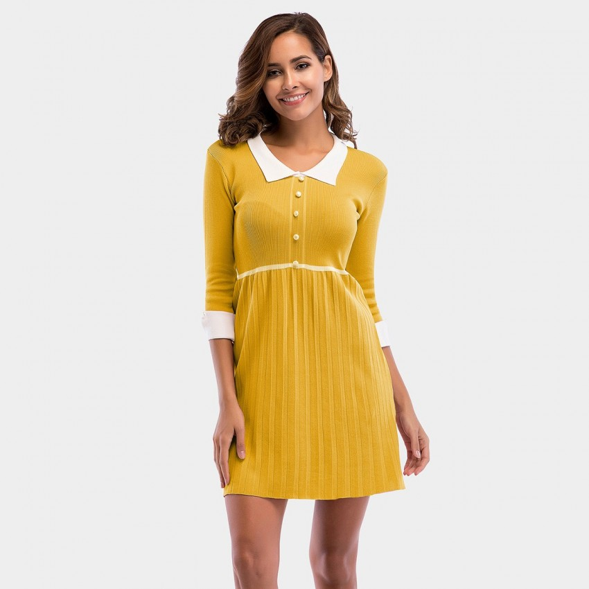 Buy YYFS Polo Collar Lady Yellow Dress online, shop YYFS with free shipping