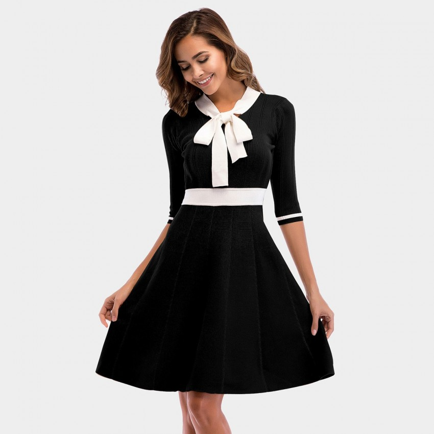 Buy YYFS Ribbon Elegant Black Dress online, shop YYFS with free shipping