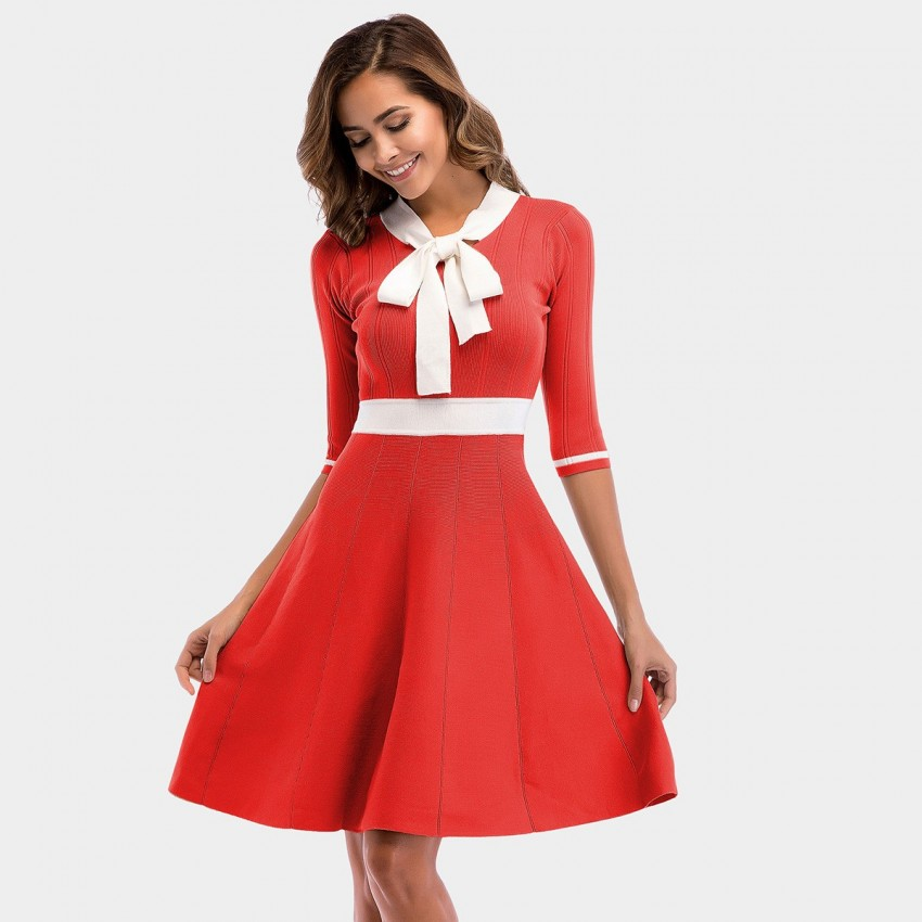 Buy YYFS Ribbon Elegant Red Dress online, shop YYFS with free shipping