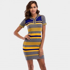 YYFS Stripped Yellow Dress (5718)