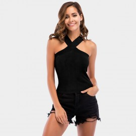 YYFS Criss-Cross Strap Black Top (5724)