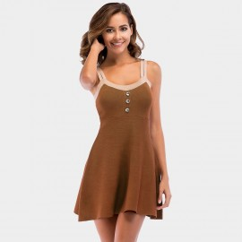 YYFS Double Strap Brown Dress (5727)