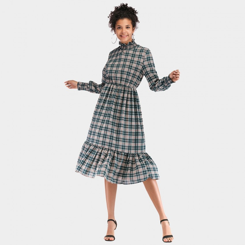 Buy YYFS Checked Green Dress online, shop YYFS with free shipping