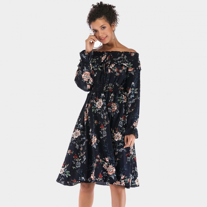 Buy YYFS Off-Shoulder Summer Floral Navy Dress online, shop YYFS with free shipping