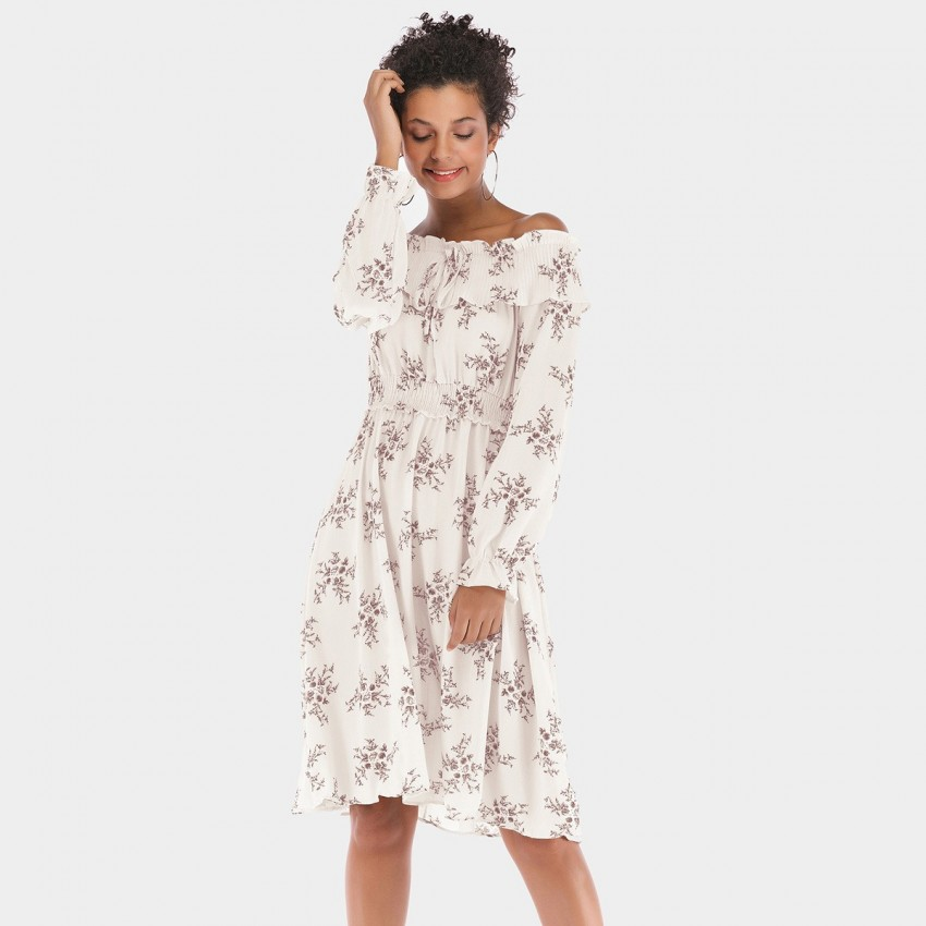Buy YYFS Off-Shoulder Summer Floral White Dress online, shop YYFS with free shipping