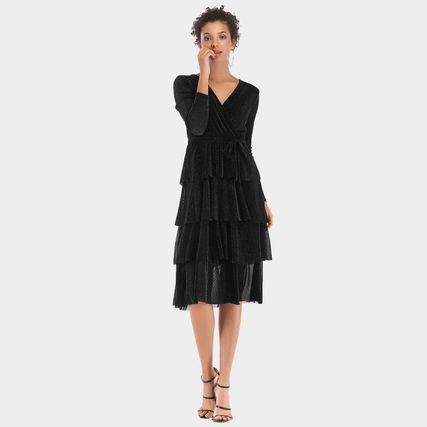 Buy YYFS Four-Layered Black Dress online, shop YYFS with free shipping