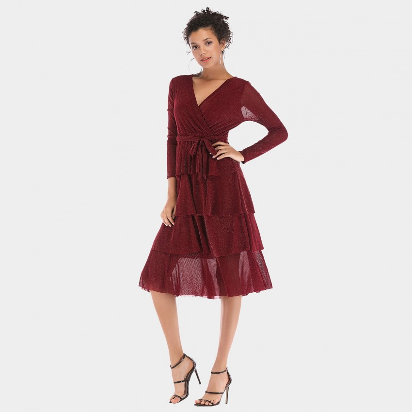 Buy YYFS Four-Layered Wine Dress online, shop YYFS with free shipping